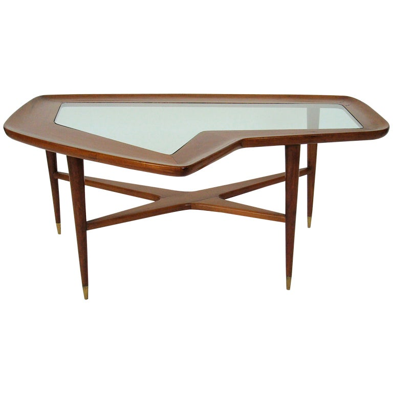 Italian Coffee Table With Brass Sabots In The Style Gio Ponti At 1stdibs: tuscan style coffee table