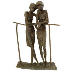 Bronze Sculpture of Two Ladies in the Manner of Alberto Giacometti