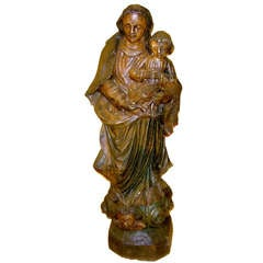19th Century Italian Carved Wood Figural Group of Mother and Child