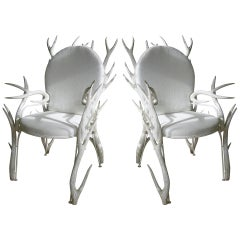 Pair of Faux Antler Armchairs of Carved Wood