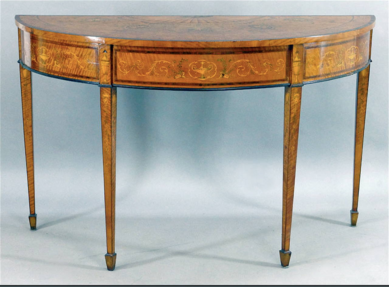 spectacular 19th century adams style satinwood inlaid demilune table at 1stdibs. Black Bedroom Furniture Sets. Home Design Ideas
