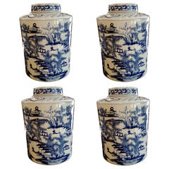 Collection of Four Chinese Blue and White Jars with Lids, Great Large-Scale