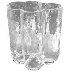 Spectacular Textured Crystal Vase Signed