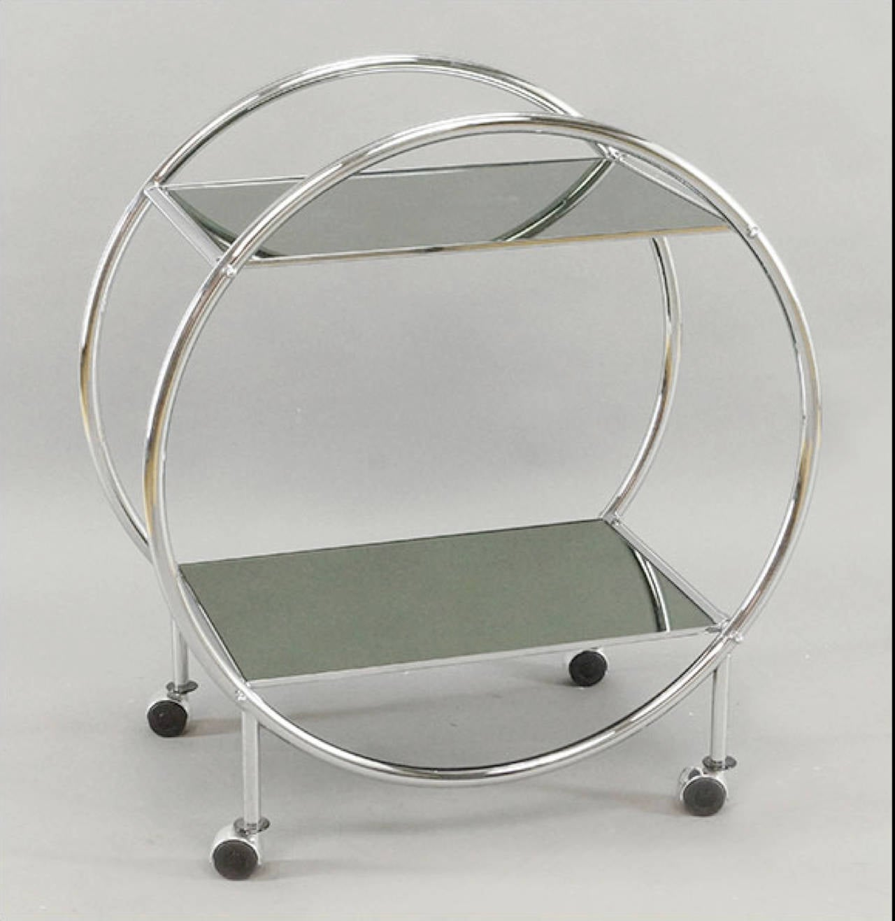 Spectacular Chrome And Mirrored Art Deco Style Bar Cart At