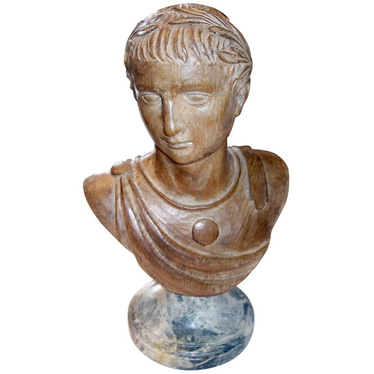 19th Century Italian Carved Wood Bust On Faux Marble Base. For Sale