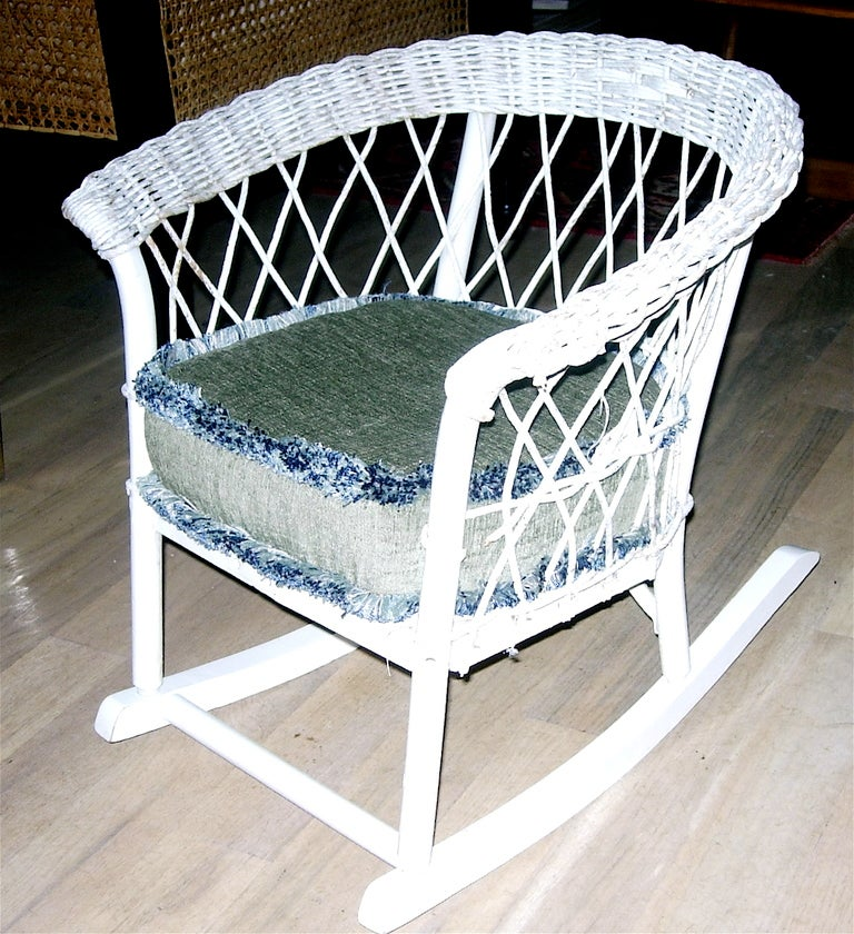 Charming Childs Wicker Rocking Chair with Custom Upholstered Cushion ...