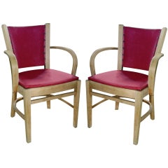 One Pair Of Art Deco Bent Wood Arm Chairs.