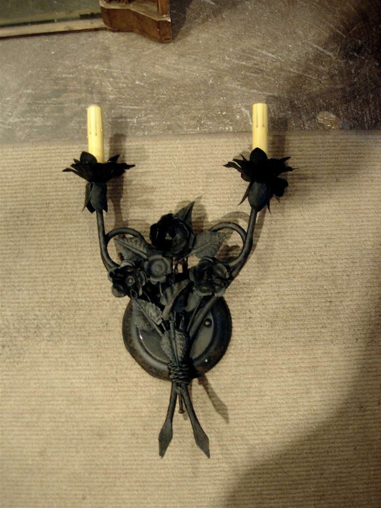 One Pair of French Tole Two-Arm Sconces 2