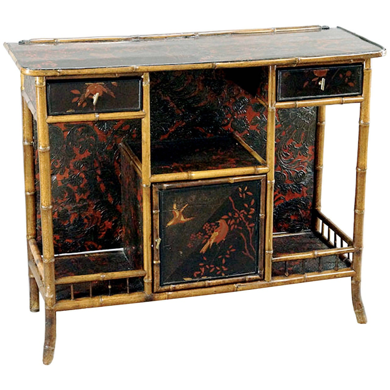 19th century english bamboo and chinoiserie console or bar at 1stdibs. Black Bedroom Furniture Sets. Home Design Ideas