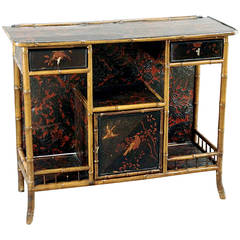 19th Century English Bamboo and Chinoiserie Console or Bar