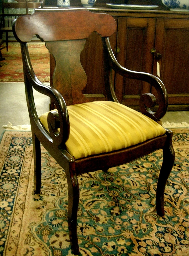 One Pair Of Empire Highly Figured Mahogany Arm Chairs At 1stdibs