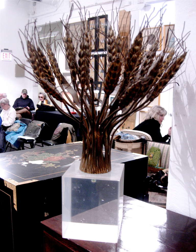 Spectacular bronze and Lucite sculpture in the manner of Bertoia.