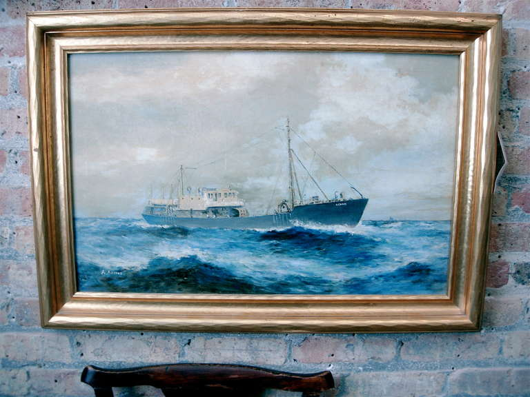 Handsome 19th century American seascape of commercial ship in giltwood frame, oil on canvas, signed lower left, Alvaro Acores (1868-1950.).