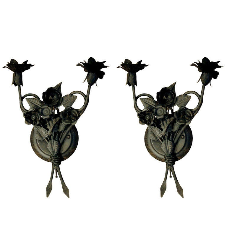 One Pair of French Tole Two-Arm Sconces