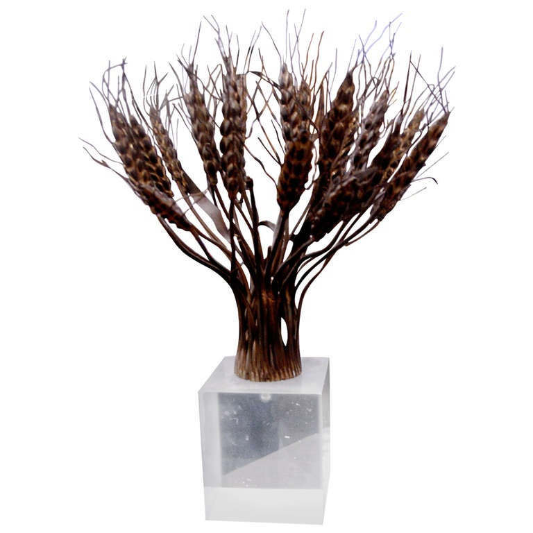 Bronze and Lucite Sculpture in the Manner of Bertoia