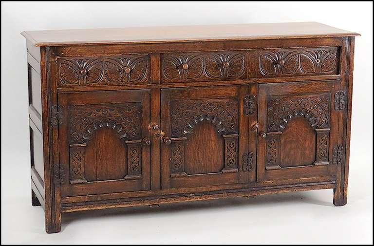 handsome carved oak jacobean style oak sideboard great