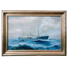 19th Century American Seascape of Commercial Ship