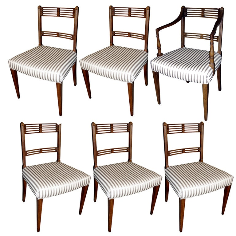 Set of Six Regency Style Mahogany Dining Chairs For Sale