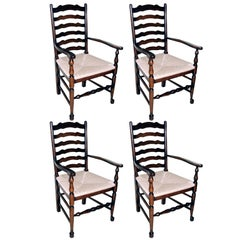 Four English Oak Ladder Back Armchairs. Very comfortable, great color and patina