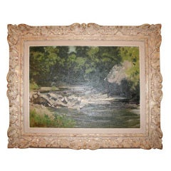 Oil on Board of a River Scene in a Giltwood Frame