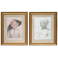 Set of Four Hand-Colored Engravings after Holbein