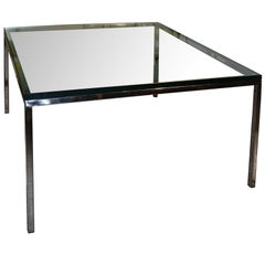 Stainless Steel and Glass Side or Coffee Table