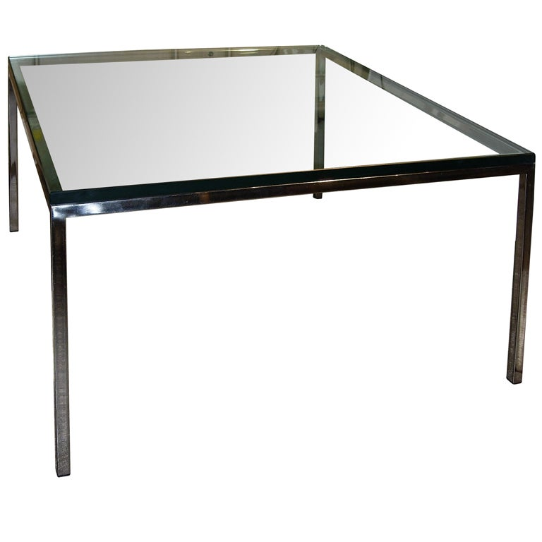 Stainless Steel and Glass Side or Coffee Table For Sale