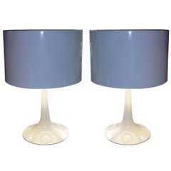 Pair of Saarinen Style White Enamel Table Lamps with Metal Shade