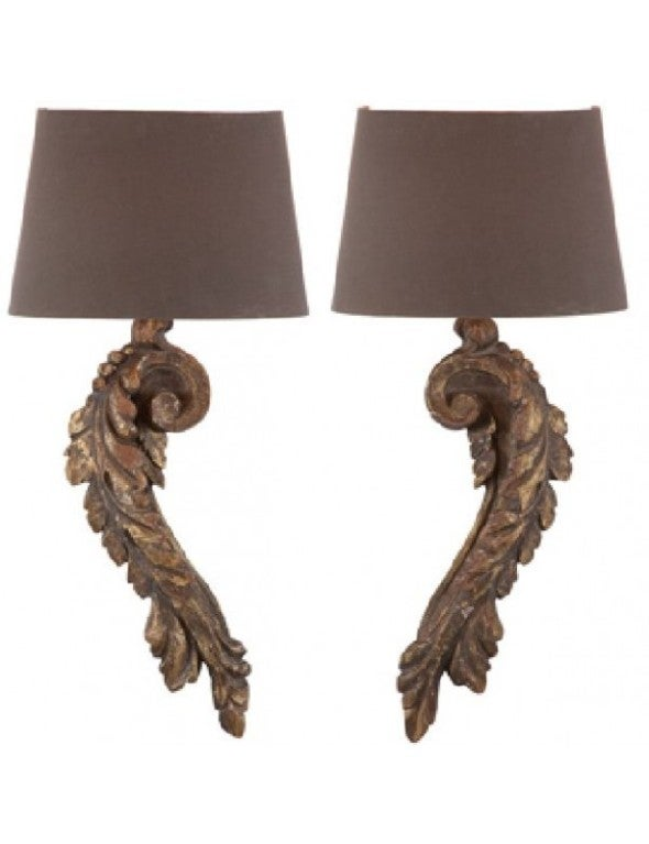 One Pair of Italian Style Carved Wood Single-Arm Sconces at 1stdibs