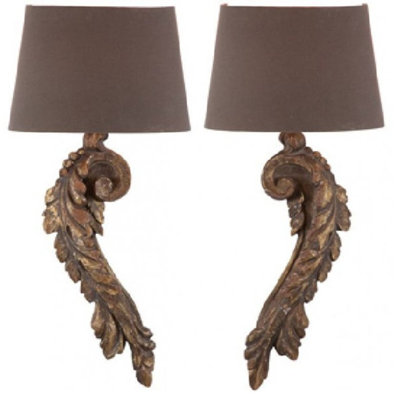 One Pair Of Italian Style Carved Wood Single Arm Sconces at 1stdibs
