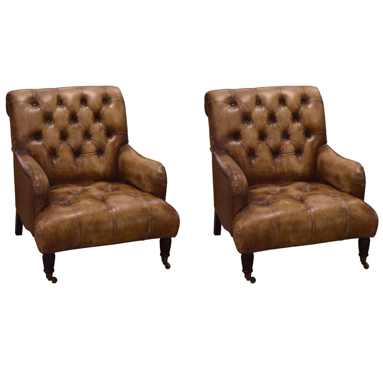 Pair of english library chairs in distressed leather at 1stdibs - Library lounge chairs ...