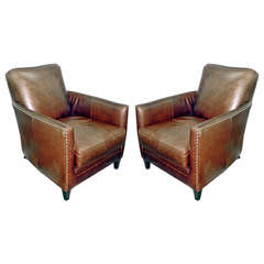 One Pair Of Vintage Deco Leather Chairs With Nail Head Trim.