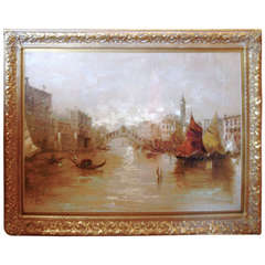 Franco Ruocco Oil on Canvas of a Venice Canal Scene in Giltwood Frame