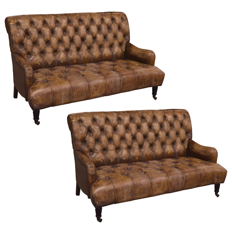 Single Tufted English Library Settees in Antiqued Leather. Great color, patina. For Sale