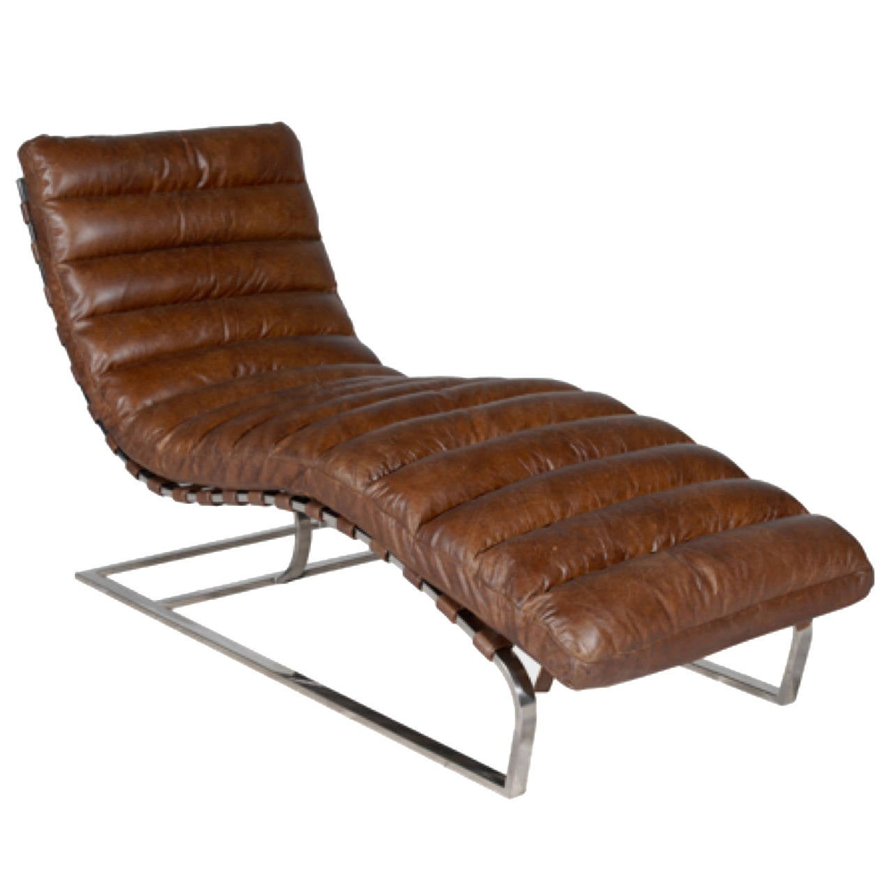 Leather and stainless chaise longue in the style of milo for Chaise longue leather