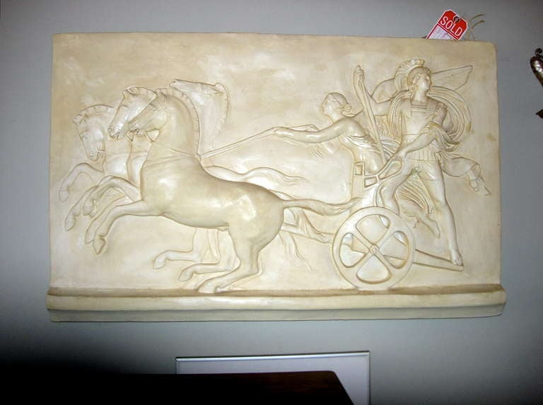 Italian Monumental Plaster Bas Relief Of Processional At