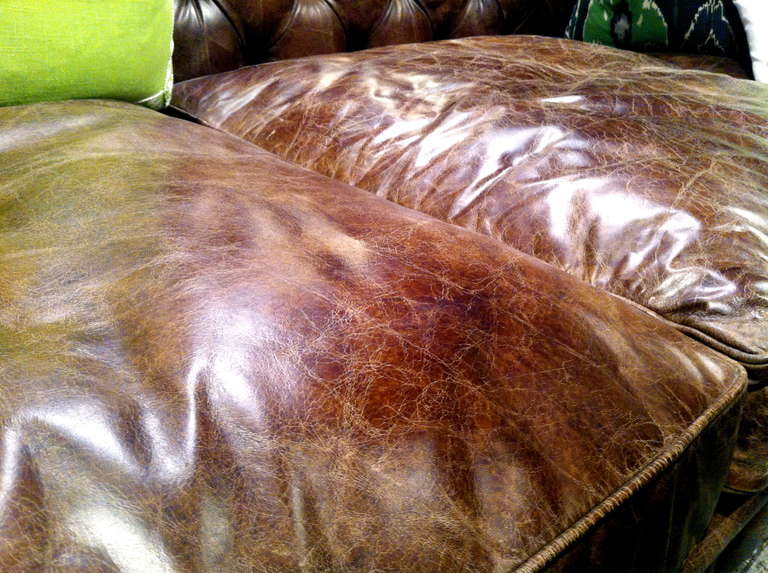 Pair of Monumental Distressed Leather Chesterfield Sofas. Priced Per Sofa. In Excellent Condition For Sale In Buchanan, MI