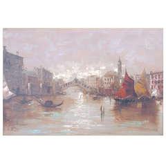 Franco Ruocco, Italian 20th Century Oil On Canvas of Venice Water Scene