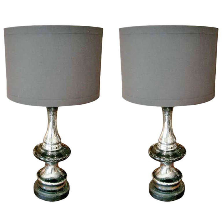 Pair Of Mercury Glass Lamps With Linen Shades At 1stdibs