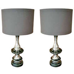 Pair of Mercury Glass Lamps with Linen Shades