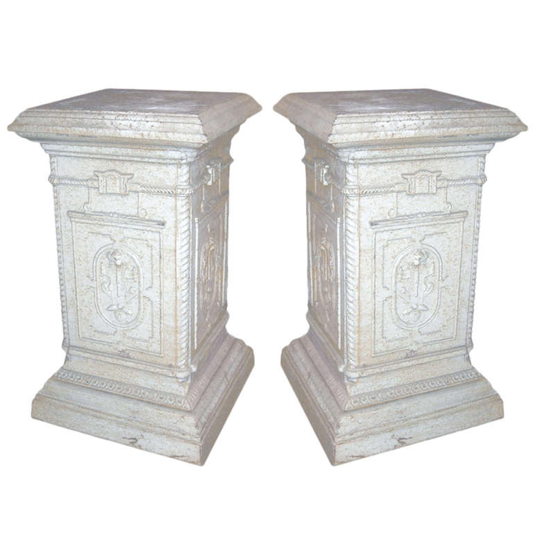 One Pair Of 19th Century English Iron Garden Pedestals For Sale
