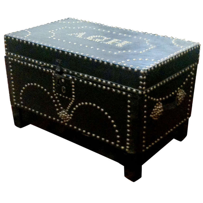 English Leather-Covered Chest with Nickel Nailhead Decoration For Sale