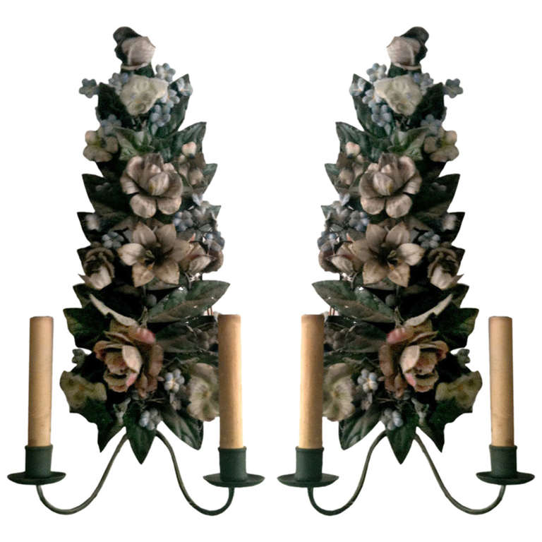 Charming Pair Of Tole Two Arm Sconces, Electrified 1