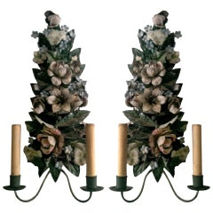 Charming Pair Of Tole Two Arm Sconces, Electrified