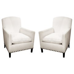 Pair of English Art Deco Style Club Chairs with Nailhead Detail