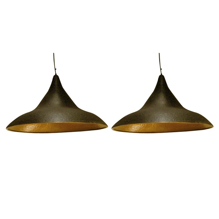 Good Pair Of Hammered Metal Pendant Light Fixtures For Sale