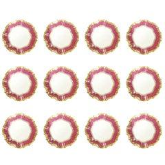 Set of 12 English Porcelain Dinner Plates with Vibrant Raspberry Border.