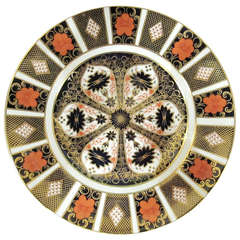 Set of Eight Royal Crown Derby Plates with Serving Platter, Imari Pattern