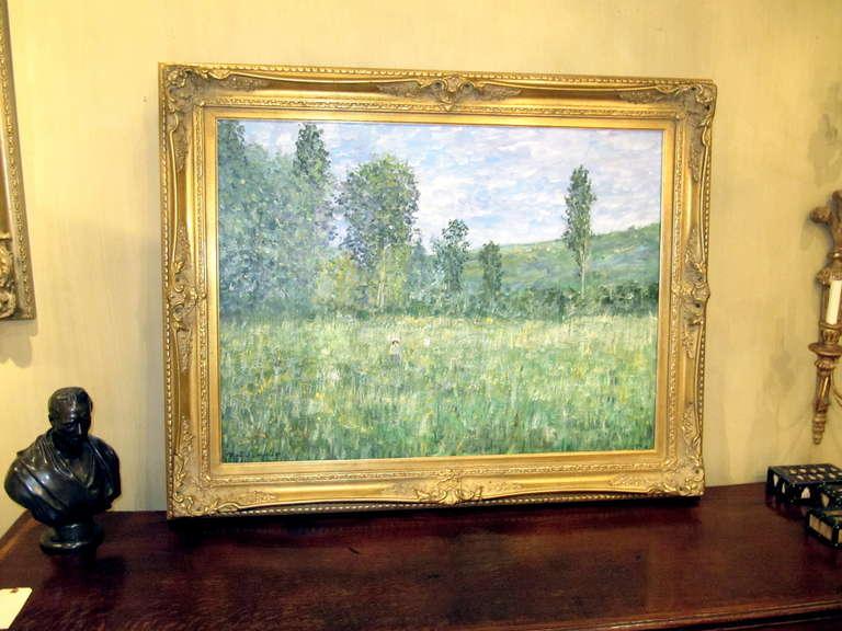 Impressionistic landscape, oil on canvas landscape, Matin Jewell, Dans Les Champs, Signed LR.