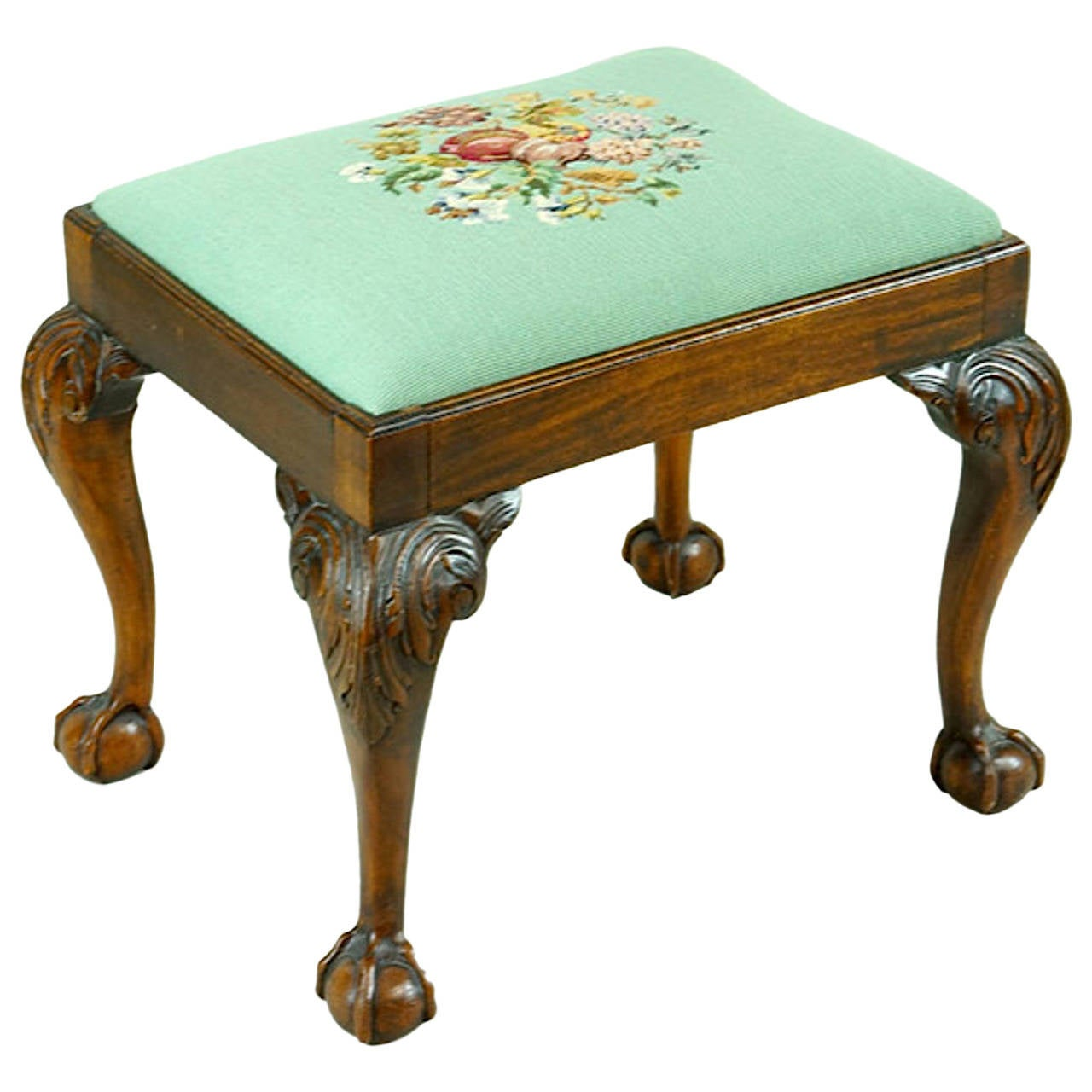 19th Century English George III Stool with Carved Cabriol Legs